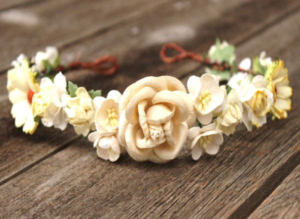 Cream Flower Crown Roses in cream and Ivory Floral Wedding Headband